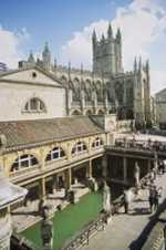 Roman Baths with Abbey                       in background