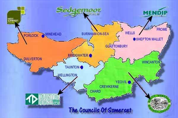 Map Of                       Somerset Councils